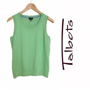 Talbots Sleeveless Pima Cotton Top Mint Green NWT